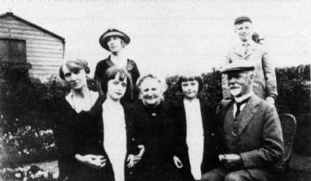 """1925"" Standing (l to r), Janet.S.Brown and her son Drummond, Seated (l to r), Christina Somerville, Elsie (Janet's daughter), Mrs Somerville, Marjorie (Janet's other daughter) and Mr Somerville"